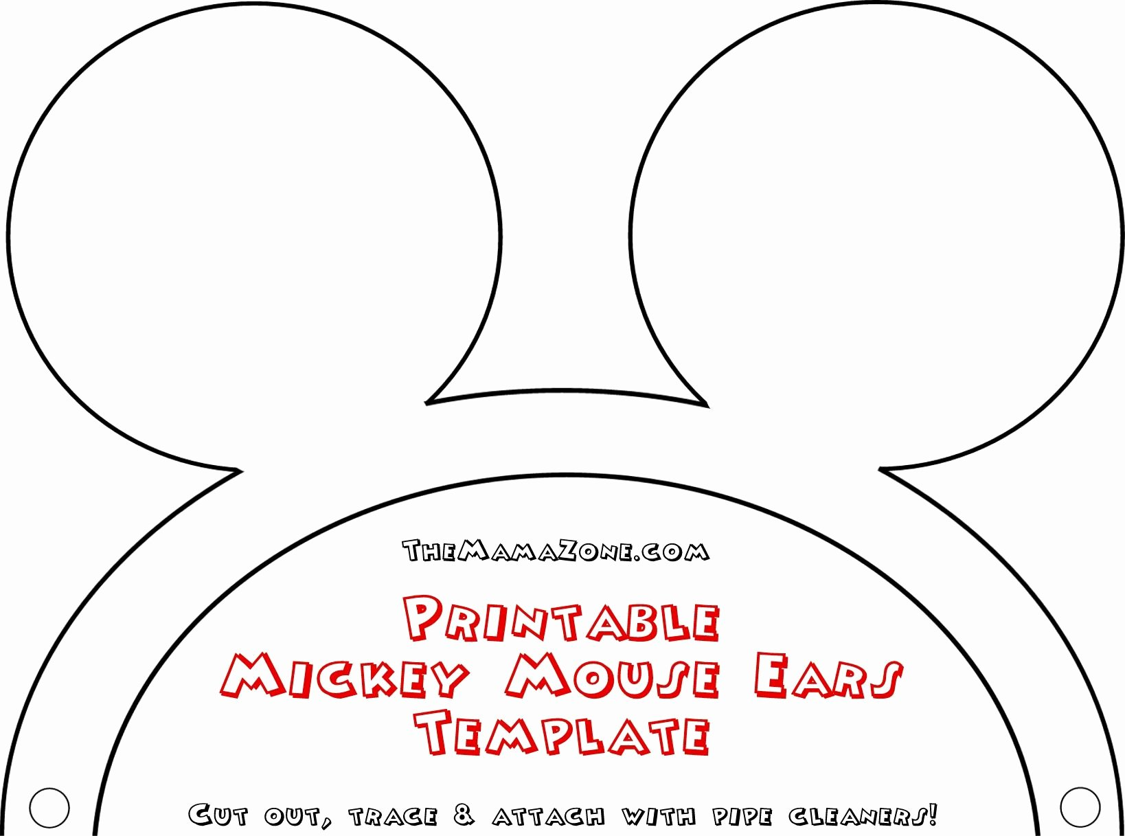 Mickey Mouse Head Cutout Template Inspirational Free Mickey Mouse Ears Template