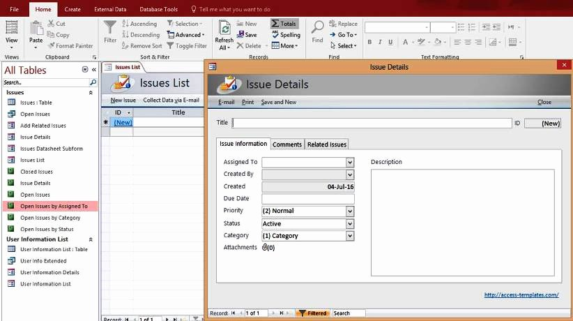 Microsoft Access Templates New Microsoft Access issues List Tracking Templates Database