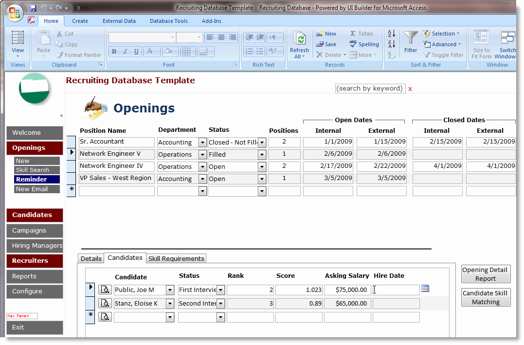 Microsoft Access Templates Unique Access Database Templates