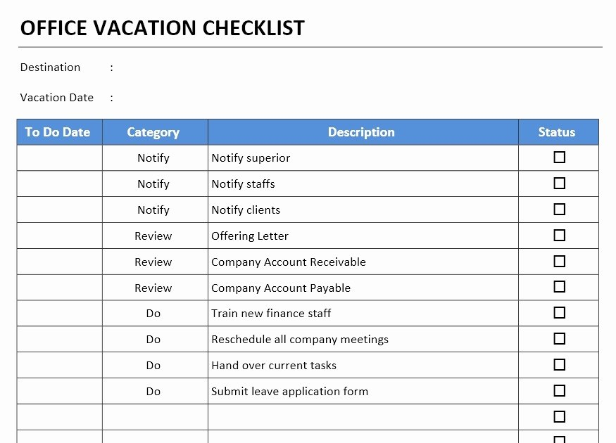 Microsoft Office Check Template Fresh Fice Vacation Checklist Template