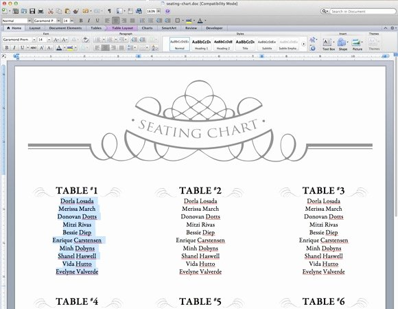 Microsoft Seating Chart Template Inspirational Free Table Planner Template