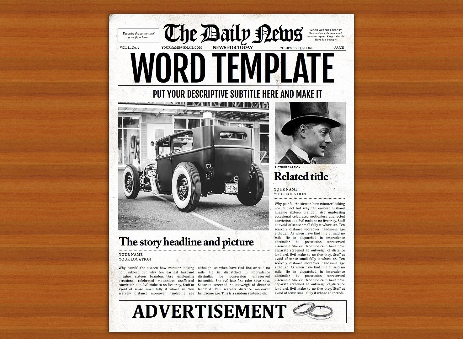 Microsoft Word Magazine Templates Lovely Vintage Word Newspaper Template Graphic by Ted Creative