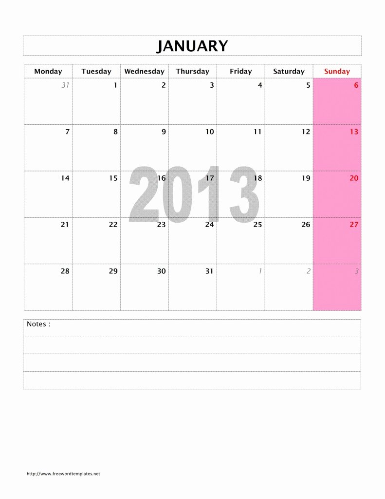 Microsoft Word Weekly Calendar Template Fresh 2013 Monthly Calendar Template