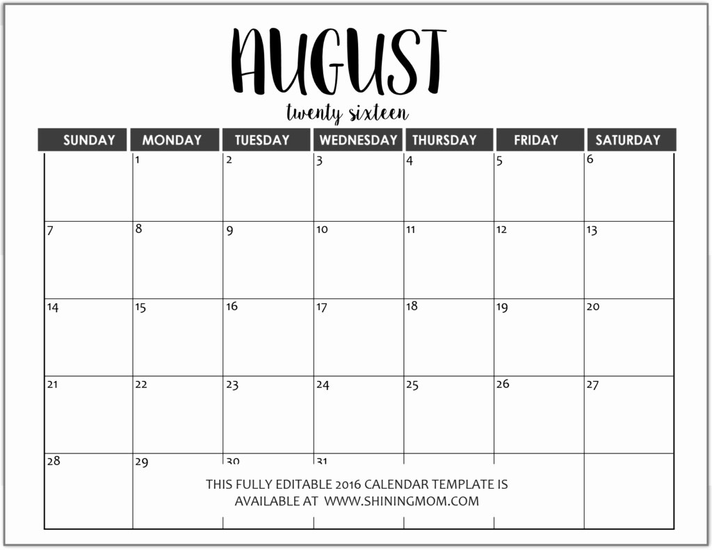 Microsoft Word Weekly Calendar Template Fresh Just In Fully Editable 2016 Calendar Templates In Ms Word