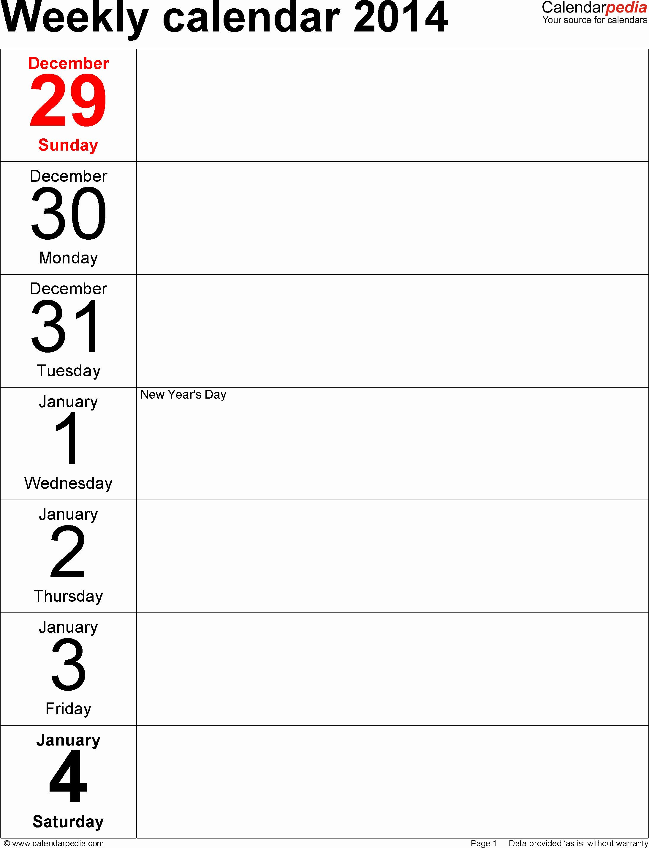 Microsoft Word Weekly Calendar Template Fresh Weekly Calendar 2014 for Word 4 Free Printable Templates