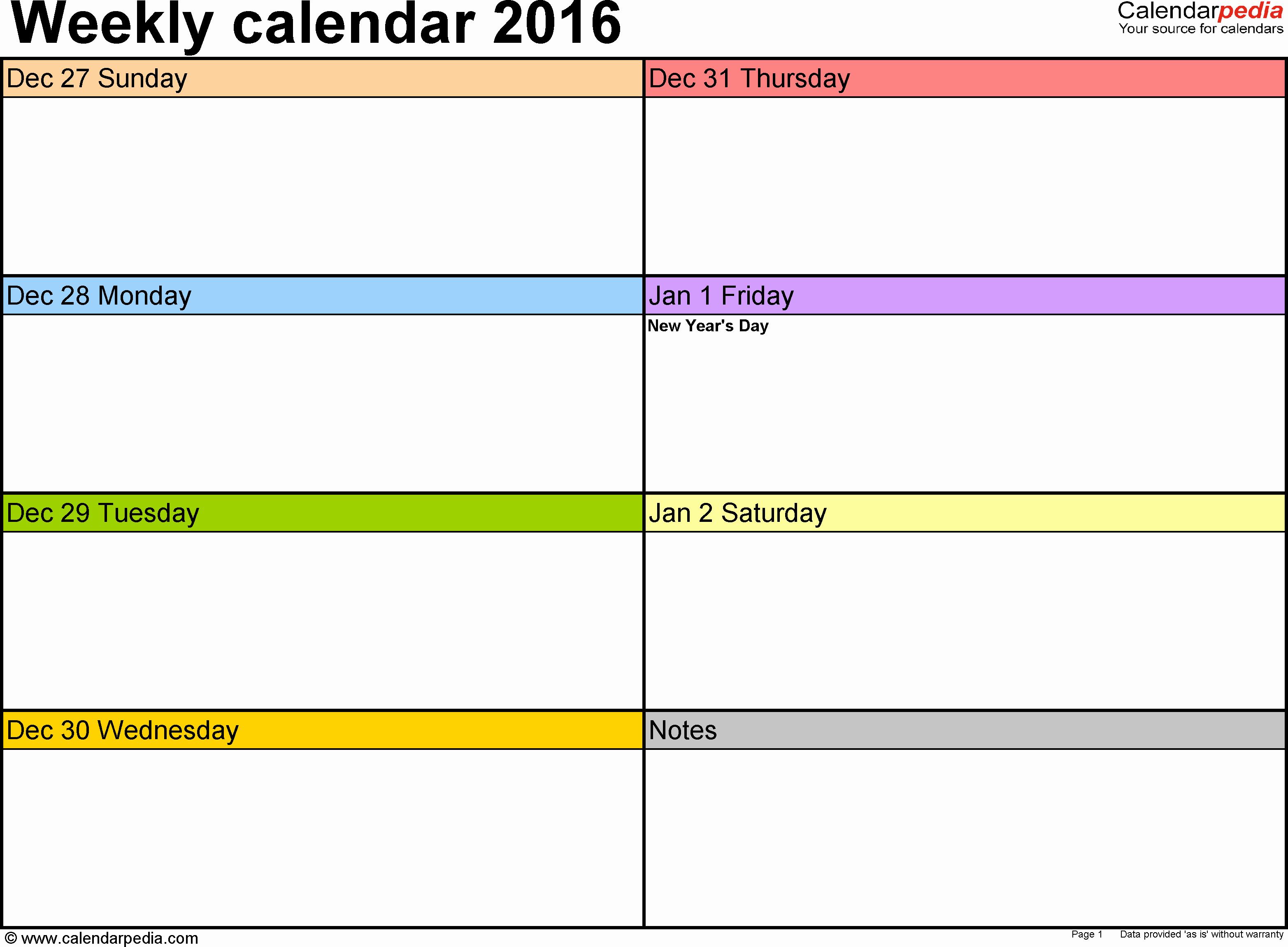 Microsoft Word Weekly Calendar Template Lovely Weekly Calendar 2016 for Word 12 Free Printable Templates