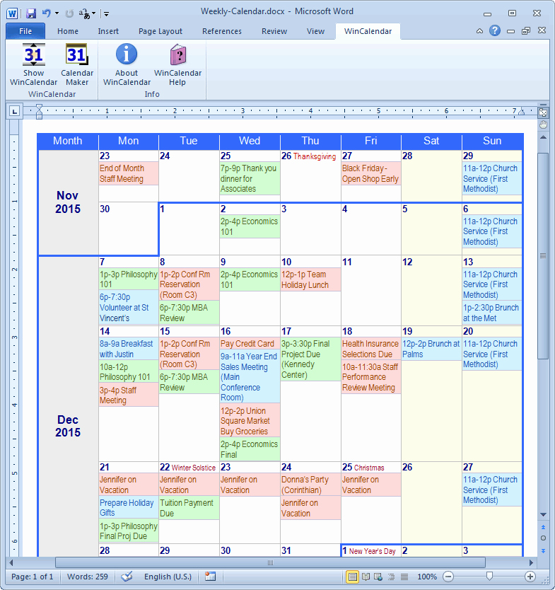 Microsoft Word Weekly Calendar Template Unique Calendar Maker & Calendar Creator for Word and Excel