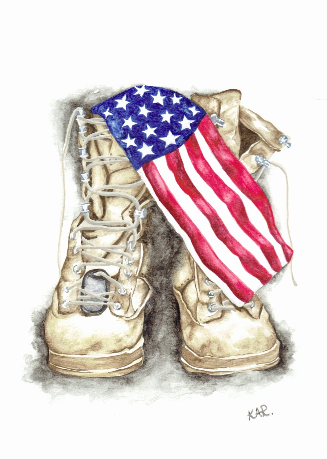 Military Dog Tags Drawing Elegant Watercolor Military Boots 5x7 Print