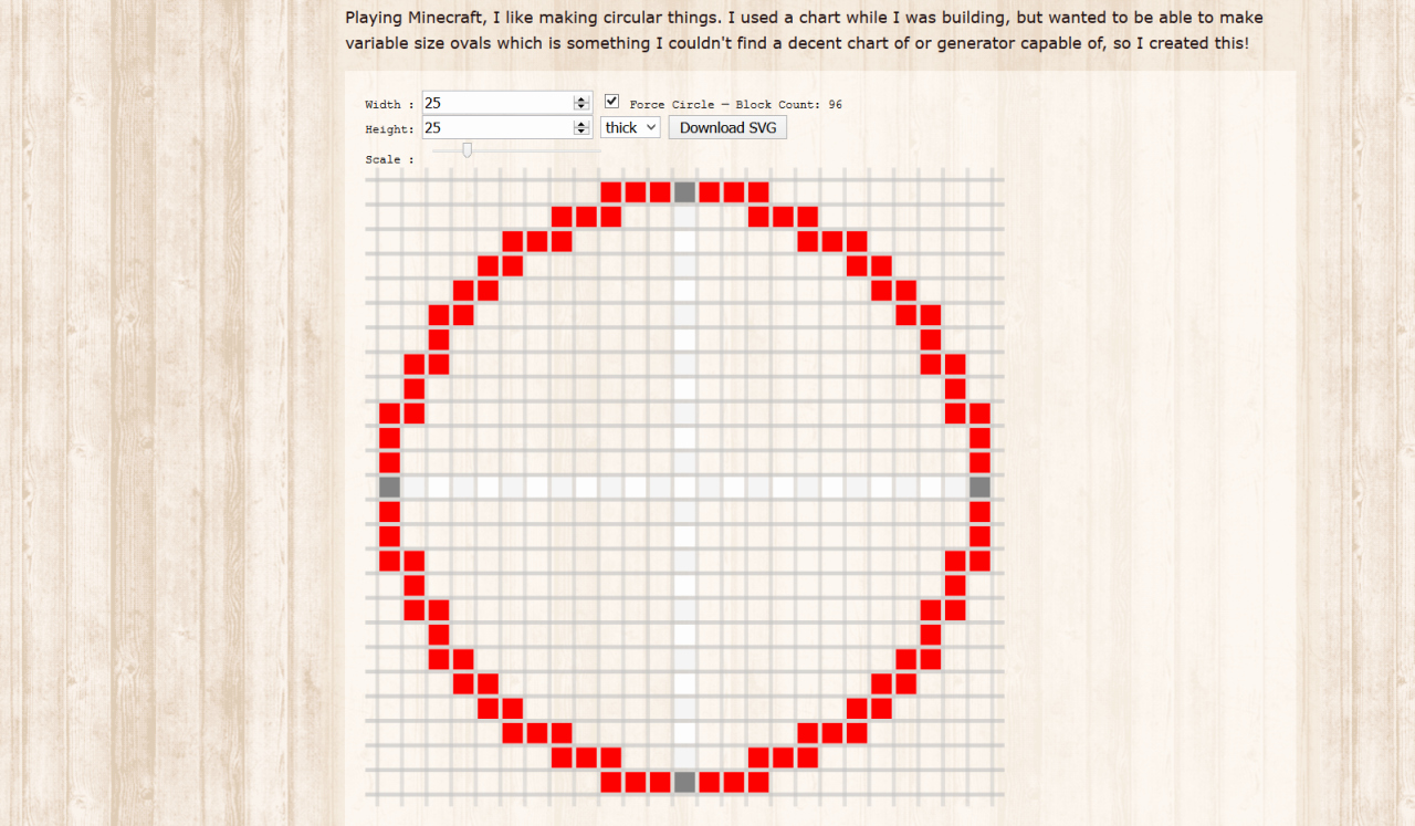Minecraft Circle Templates Fresh Minecraft — Pixel Circle Oval Generator Minecraft