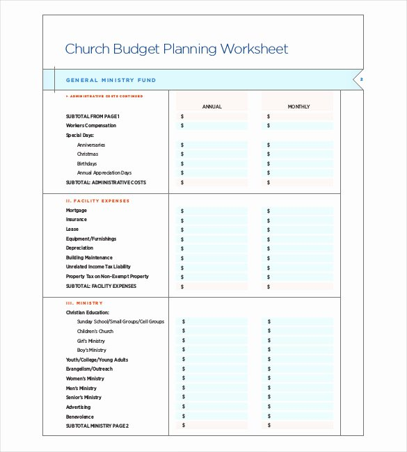 Ministry Budget Template Inspirational 12 Church Bud Templates Doc Excel Pdf
