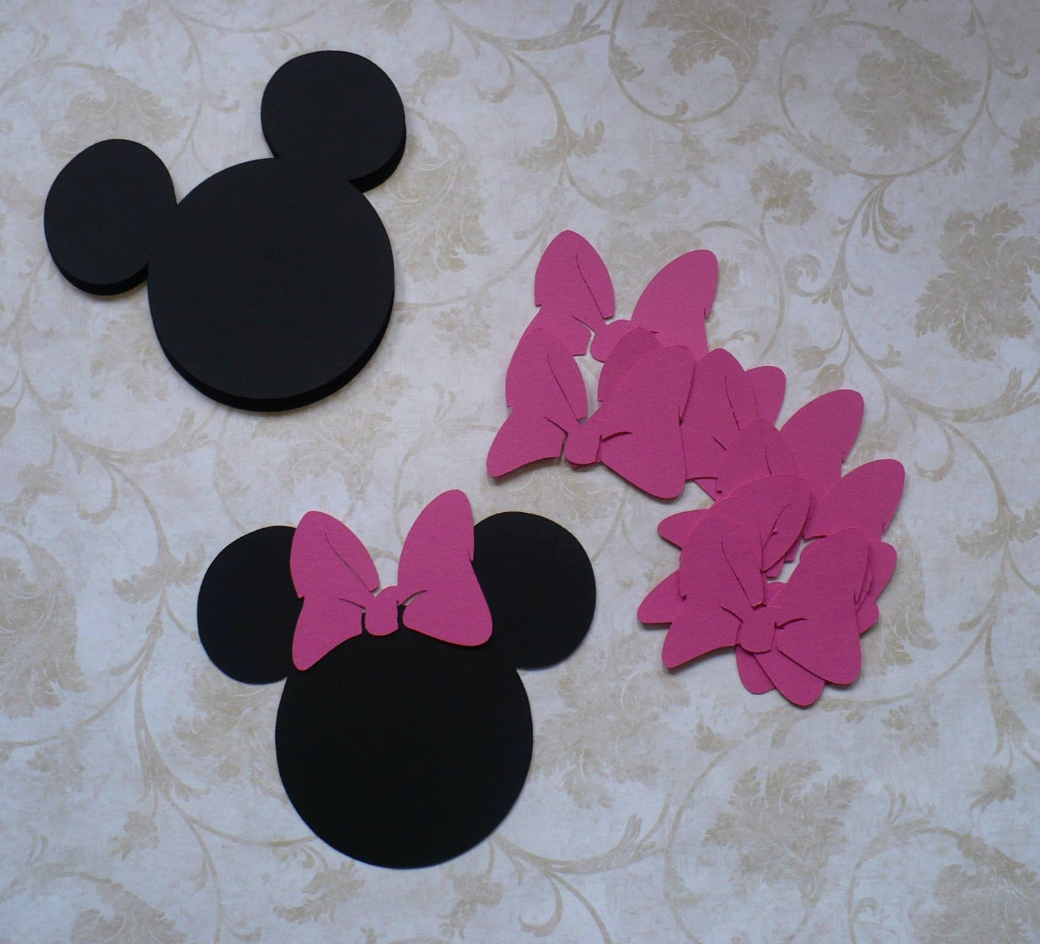 Minnie Mouse Cut Out Head Luxury 12 Minnie Mouse Head Shapes Hot Pink Bow Die Cut 3 5 Inch Pcs