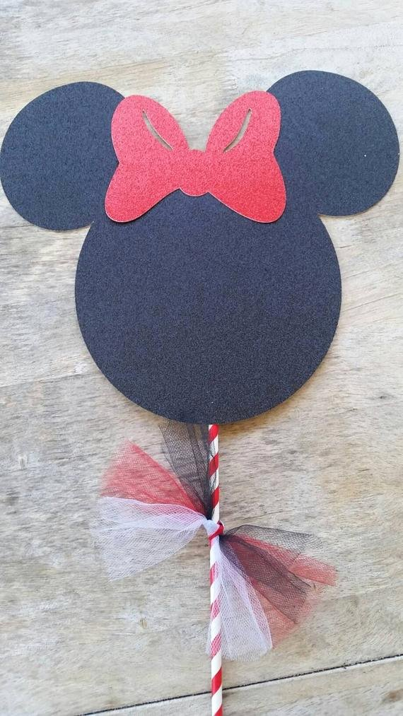 Minnie Mouse Cut Out Head Unique Glitter Minnie Mouse Head and Bow Centerpiece by