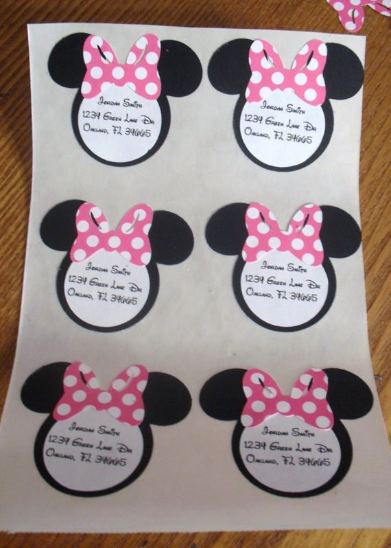 Minnie Mouse Cut Out Template New Minnie Mouse Heads Cut Outs Address Labels Party by