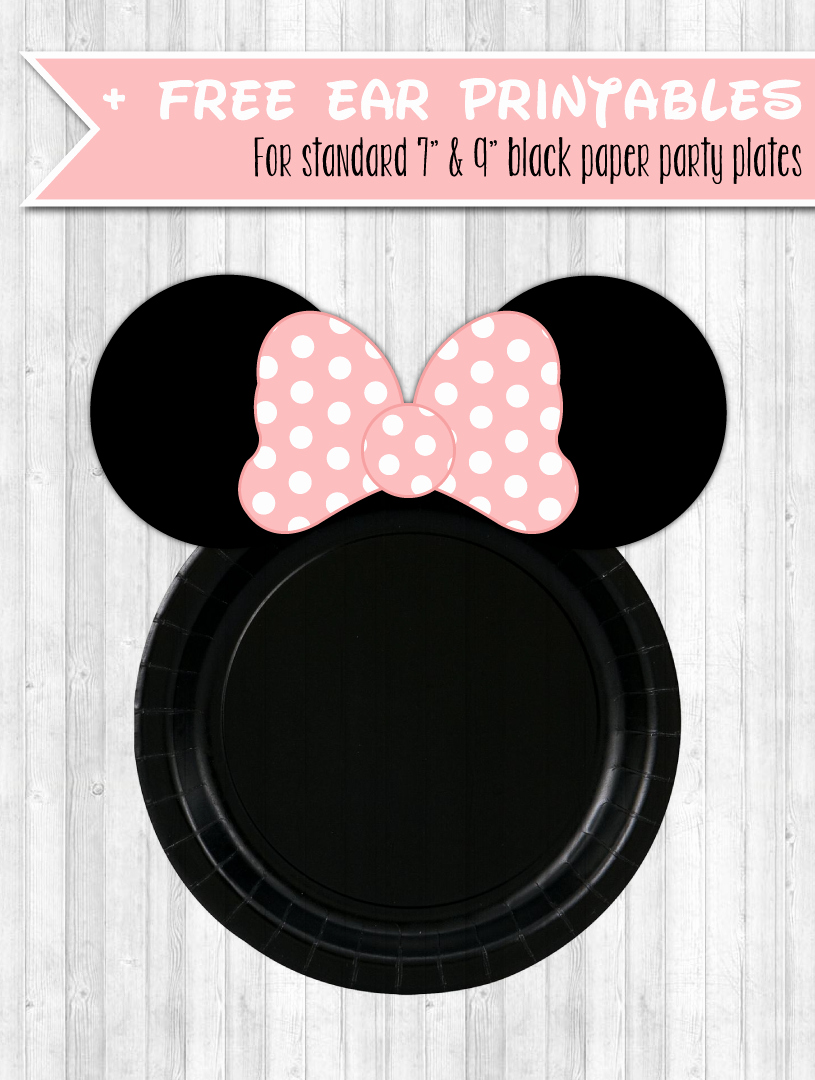 Minnie Mouse Ears Printable Beautiful Minnie Party Decor Pack Gold Glitter & Blush Pink