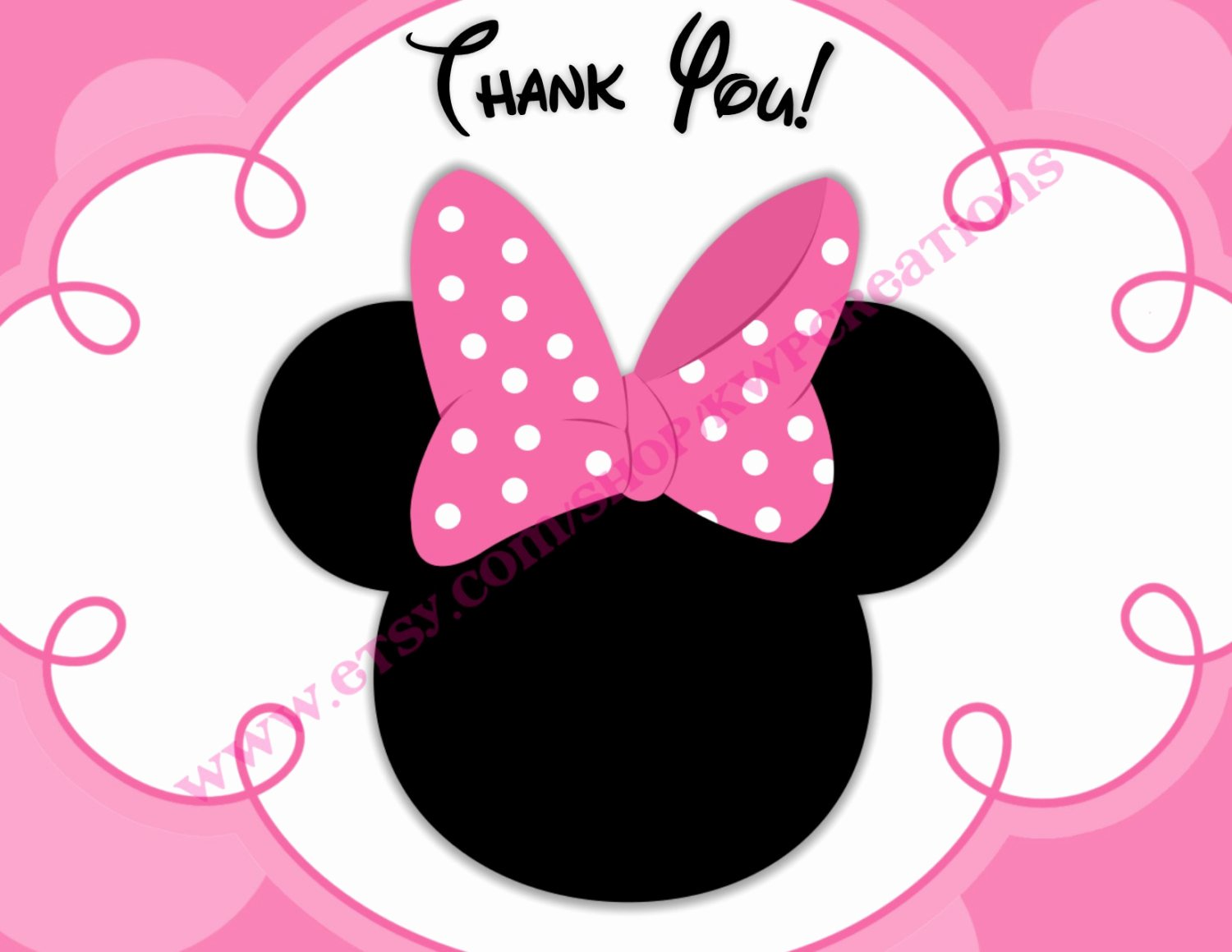 Minnie Mouse Template Head Lovely Minnie Mouse Head Thank You Cards Printable Digital File