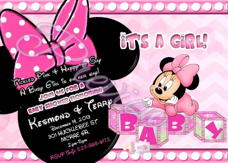 Minnie Mouse Template Pdf Fresh Minnie Mouse Baby Shower Invitation