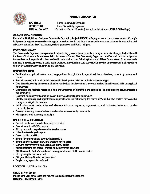 Mis Job Description Beautiful Job Opportunity Labor Munity organizer organizador