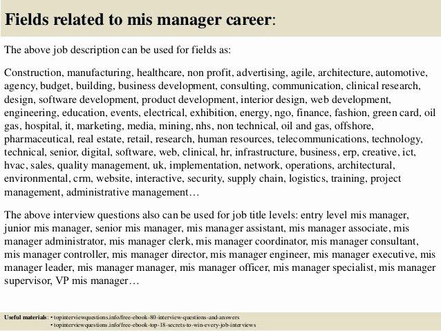 Mis Job Description Elegant top 10 Mis Manager Interview Questions and Answers