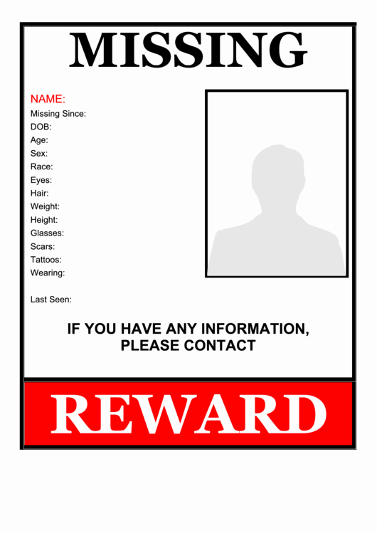 Missing Person Flyer Template Beautiful Missing Person Flyer Template Printable Pdf
