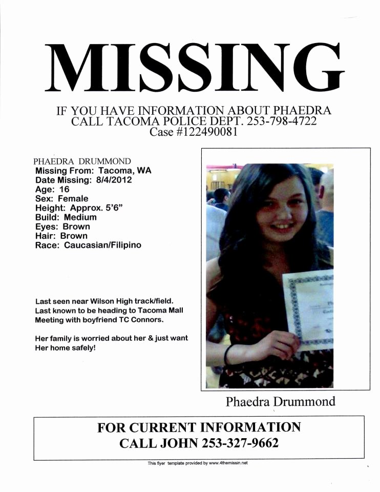 Missing Person Flyer Template Best Of Missing Person