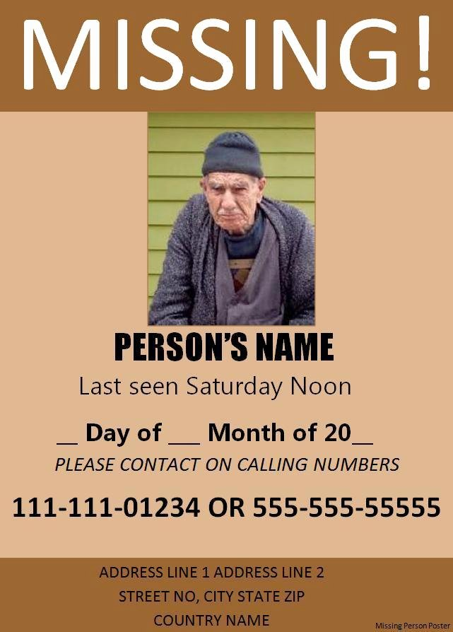 Missing Person Flyer Template Elegant 11 Missing Person Poster Templates