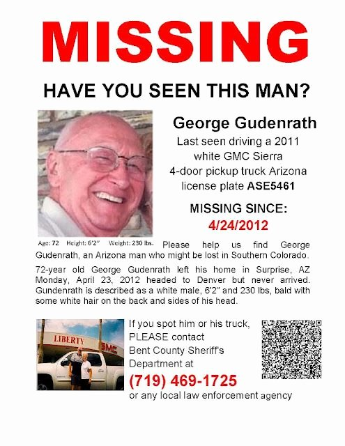 Missing Person Flyer Template Elegant George Gudenrath Missing Person Arizona