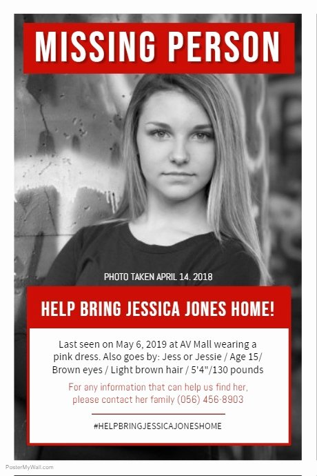 Missing Person Flyer Template Elegant Missing Person Poster Black and White Template