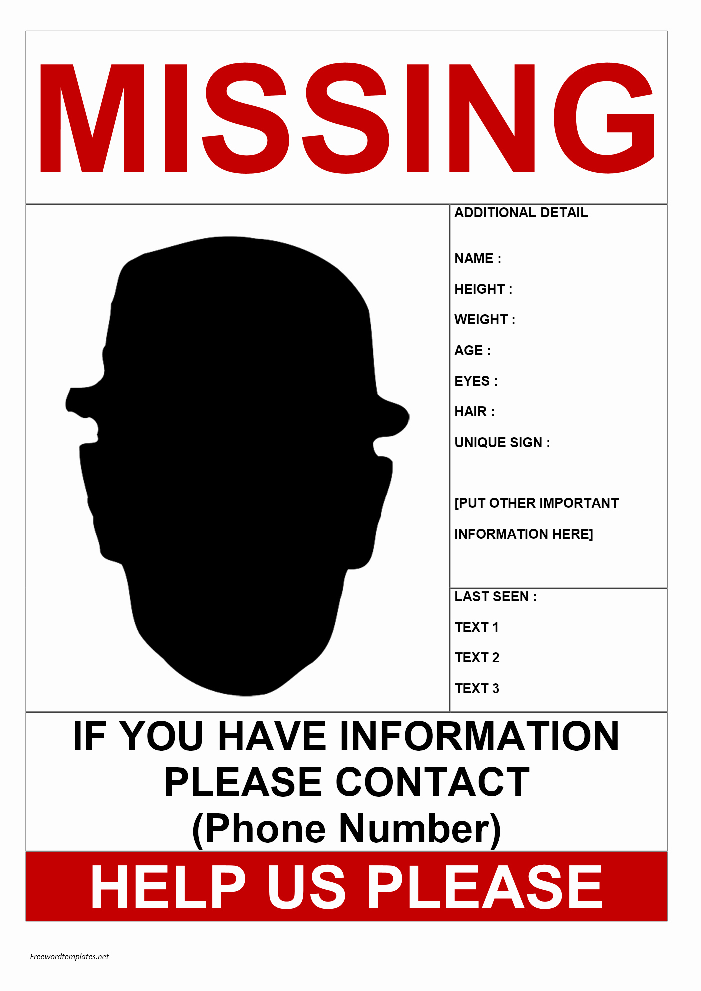 Missing Person Flyer Template Luxury Missing Person Poster Template