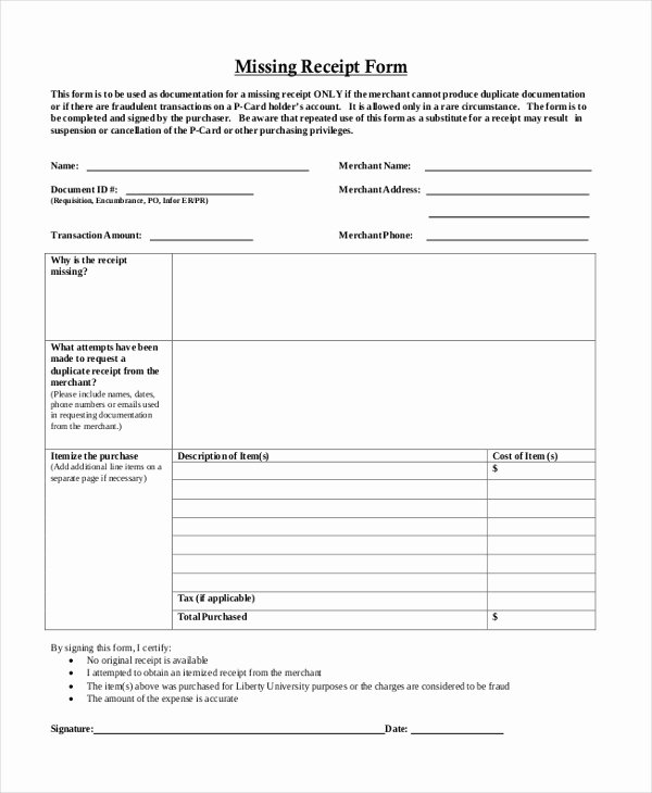 Missing Receipt form Template Beautiful Sample Blank Receipt forms 9 Free Documents In Pdf Word