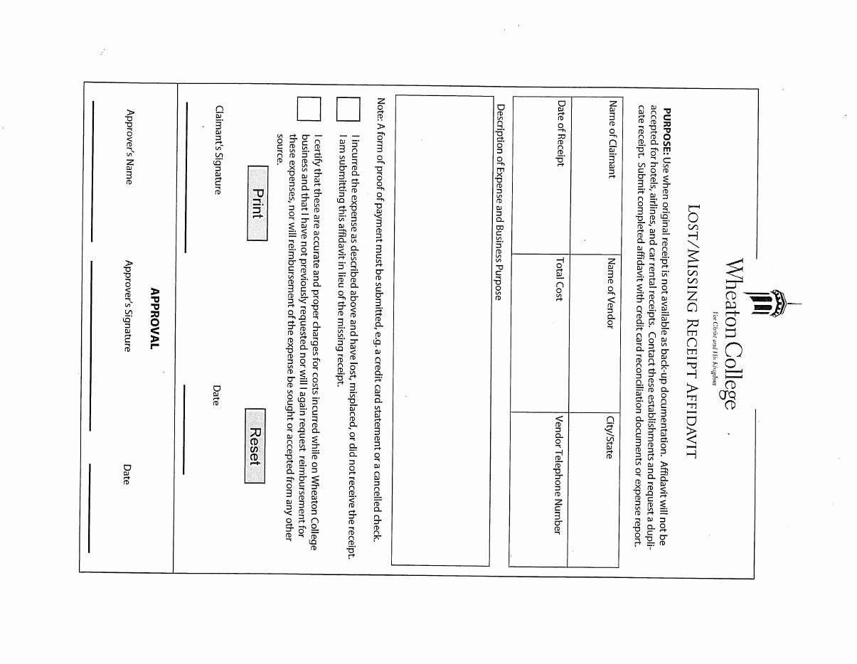 Missing Receipt form Template Best Of Lost Receipt form