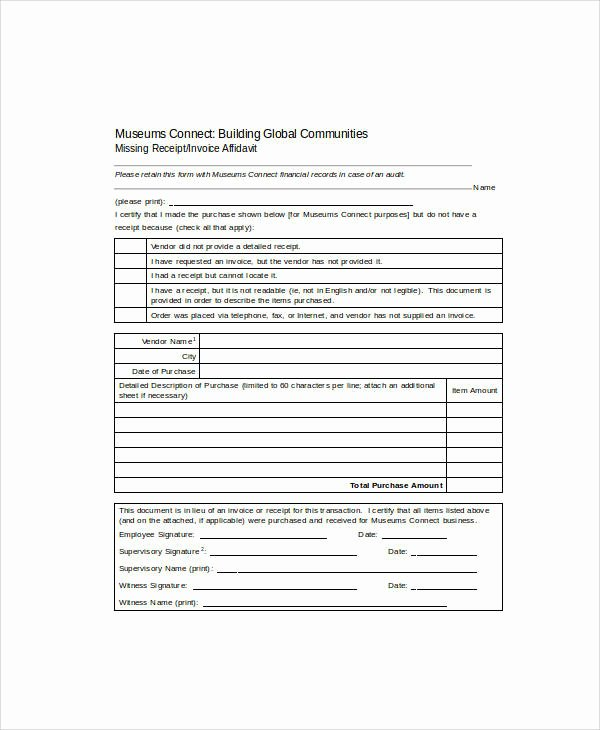 Missing Receipt form Template Fresh 16 Sample Receipt forms In Doc