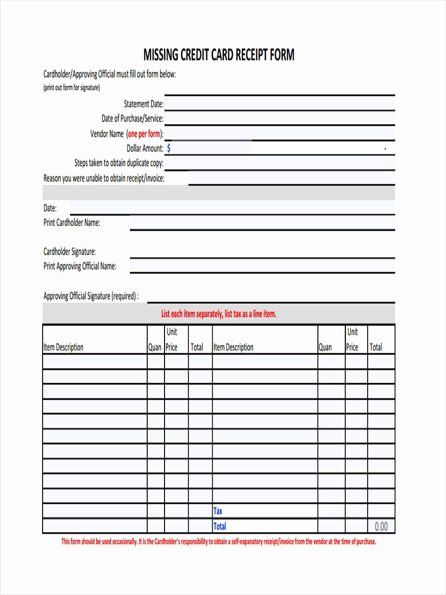 Missing Receipt form Template Fresh 4 Lost Receipt forms Free Samples Examples format Download