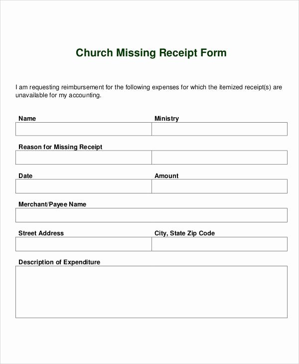 Missing Receipt form Template Luxury Receipt forms In Pdf