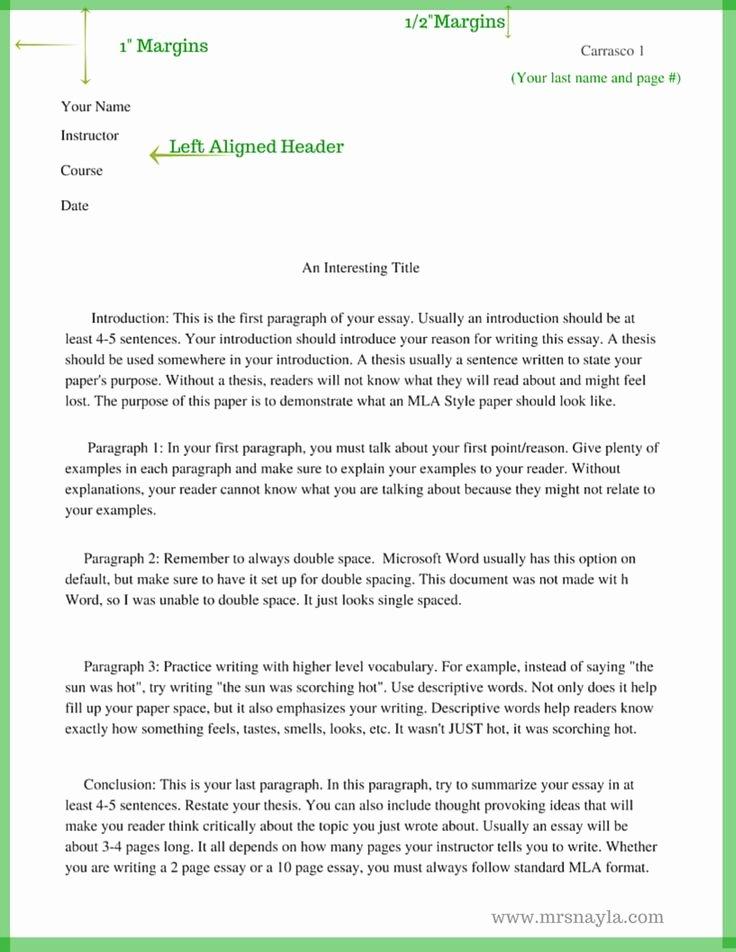 Mla 5 Paragraph Essay format Fresh Mla Style Sample Essay format