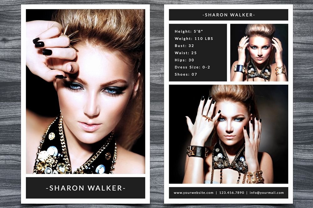 Model Comp Card Template Elegant Model P Card Template