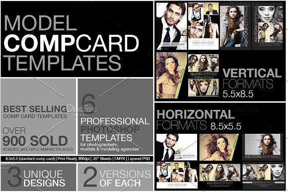 Model Comp Card Template Luxury Model P Card Kit Flyer Templates Creative Market