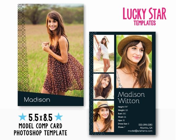 Model Comp Card Template Unique Customizable Digital Model P Card Zed by Luckystartemplates
