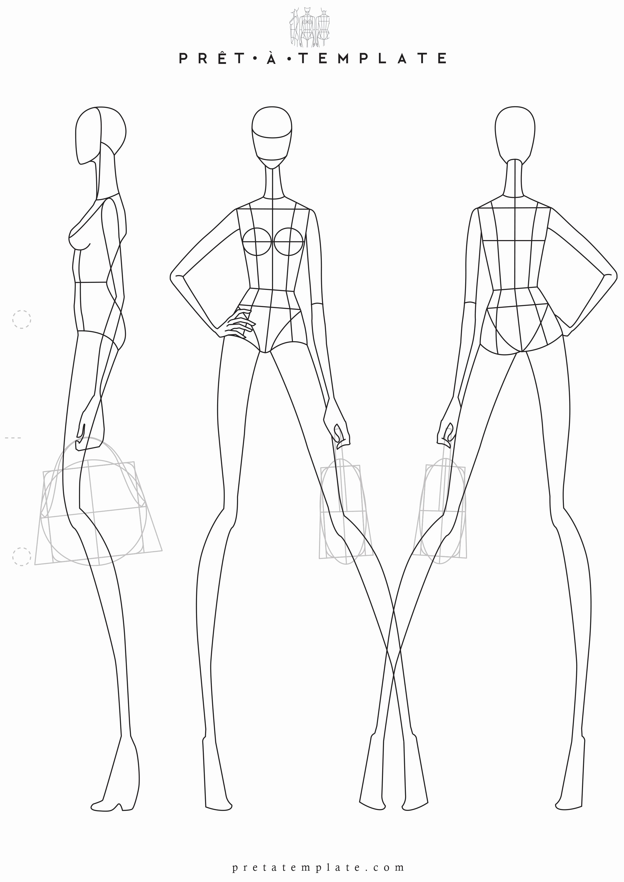Model Sketch Template Elegant Woman Body Figure Fashion Template D I Y Your Own Fashion