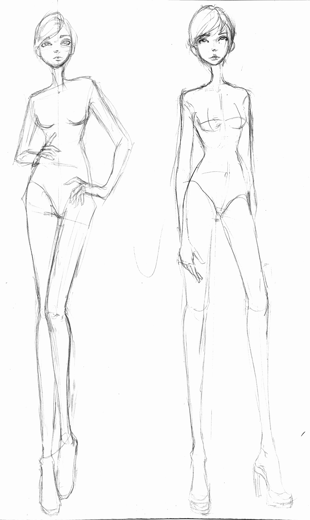 Model Sketches Template Elegant Rough Sketches Fashion Croquis Sketch Ideas