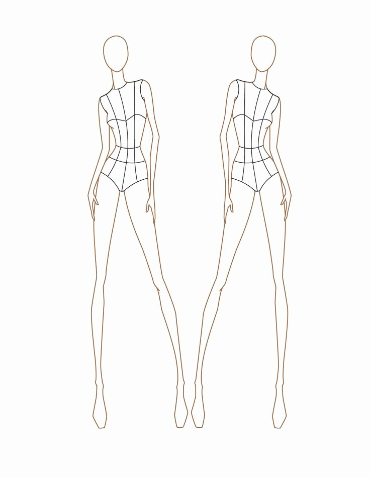 Model Sketches Template Unique Croquis Female Front View
