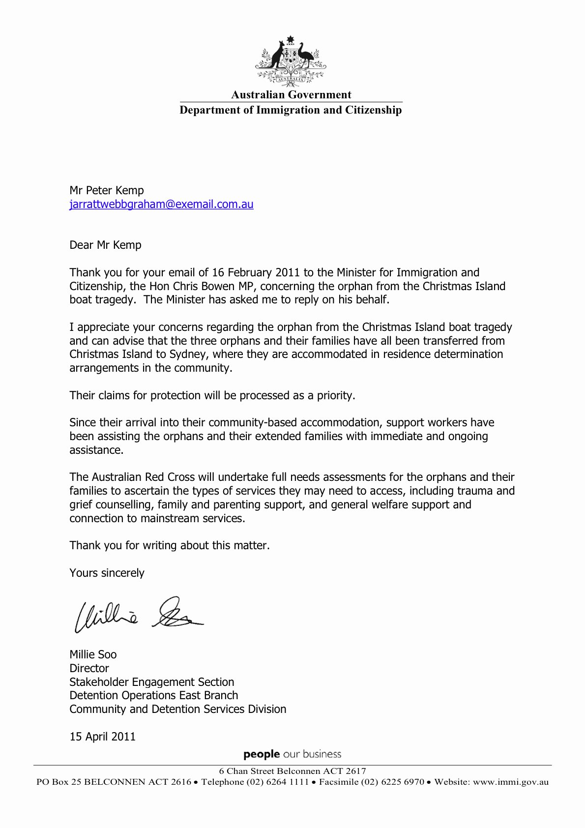 Modification Of Child Support Letter Samples Best Of 2011 04 15 Update Australian Minister for Immigration and