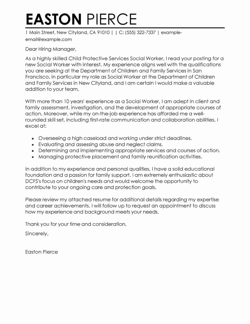 Modification Of Child Support Letter Samples Luxury Best social Services Cover Letter Examples