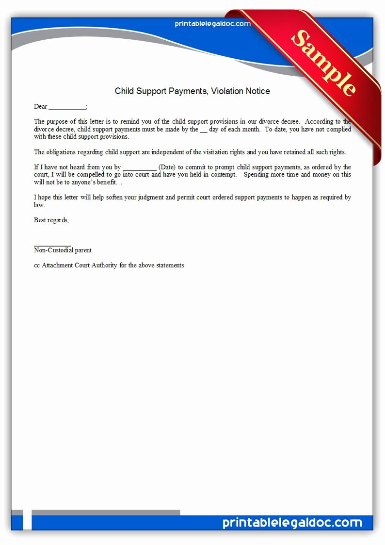 Modification Of Child Support Letter Samples Unique Free Printable Child Support Payments Viiolation Notice