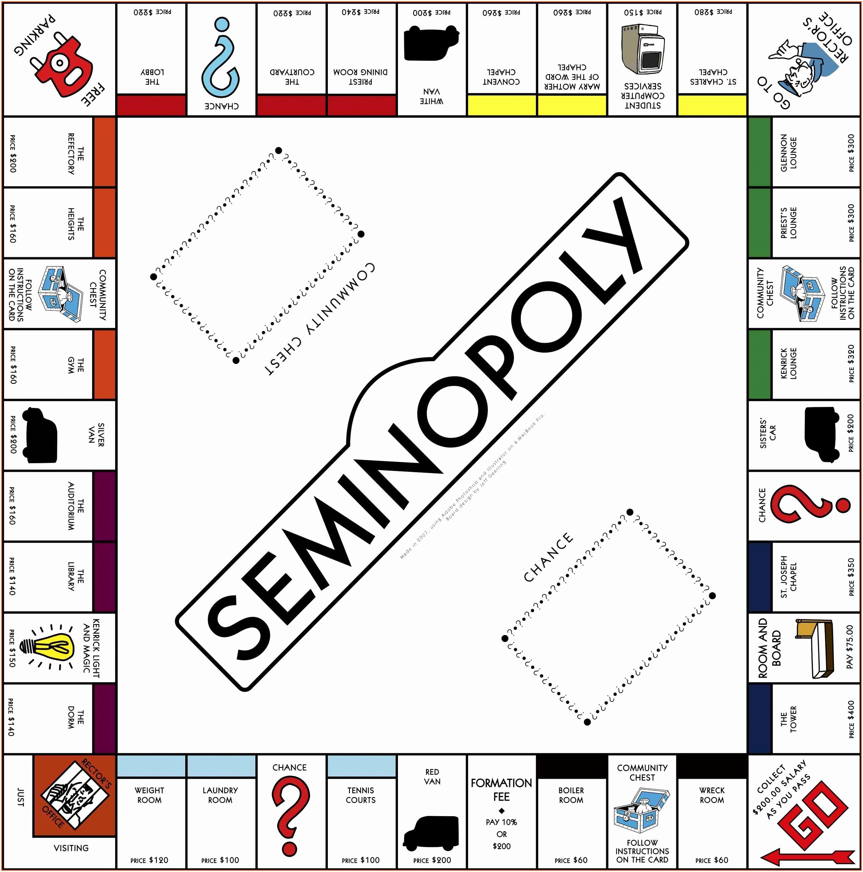 Monopoly Board Printable Elegant 7 Monopoly Template Word Woeui