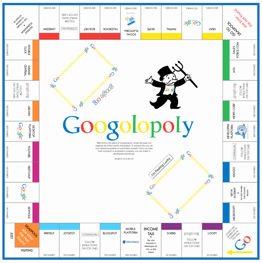 Monopoly Board Printable Fresh Download and Print Google Monopoly Board Game Googolopoly