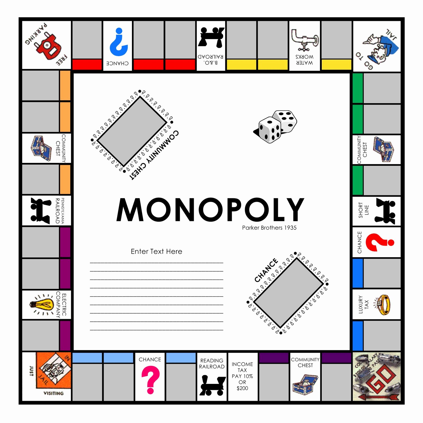 Monopoly Board Printable Unique Free Monopoly Game Board Template the Best 10