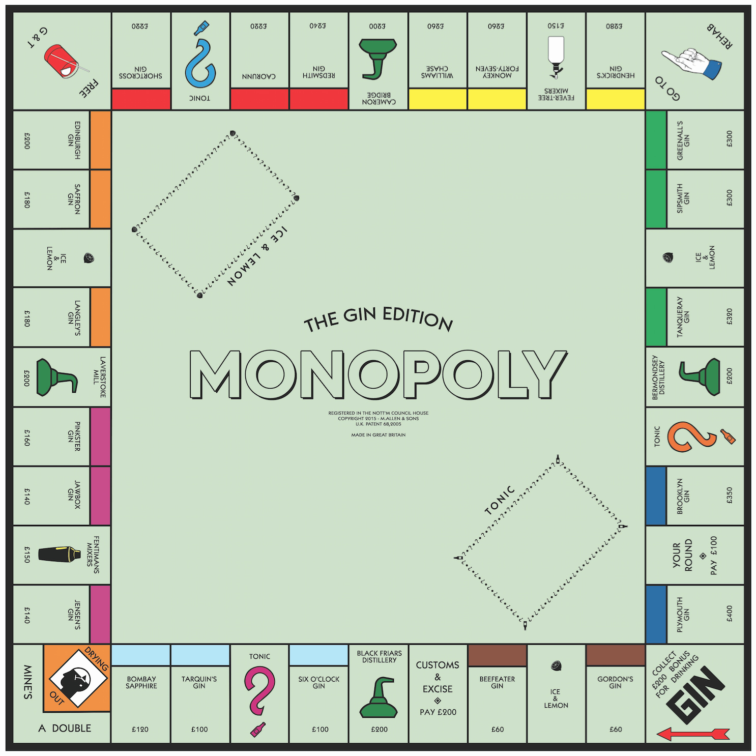 Monopoly Board Printable Unique Perfect Gift for Distilled Spirits Fans – Custom Whiskey