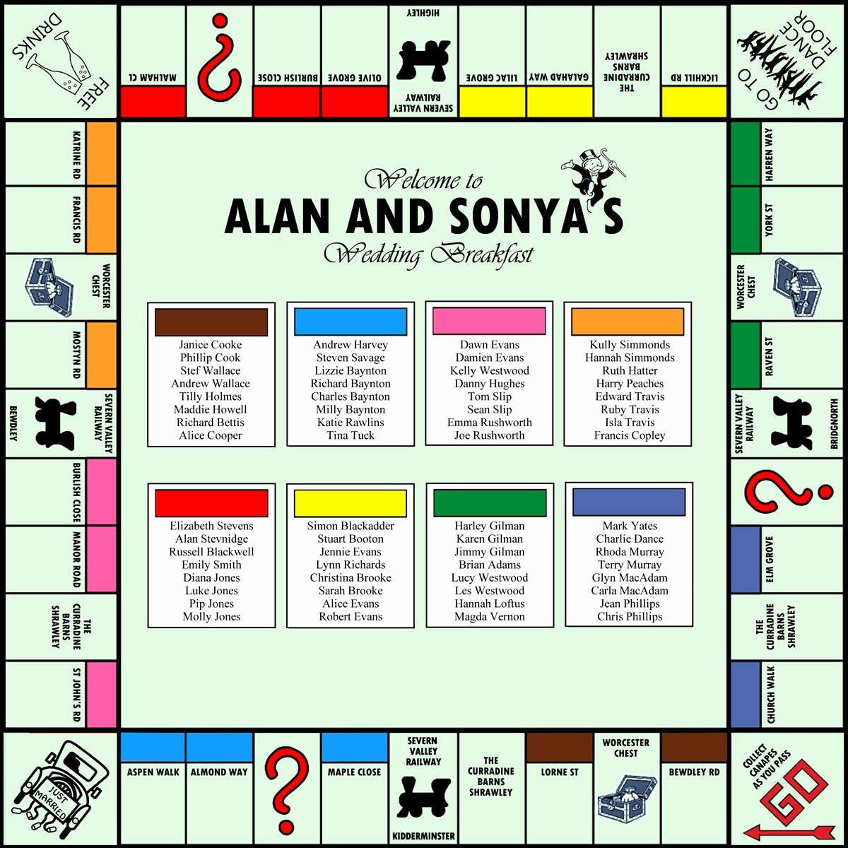 Monopoly Board Template Lovely Monopoly Wedding Table Plan