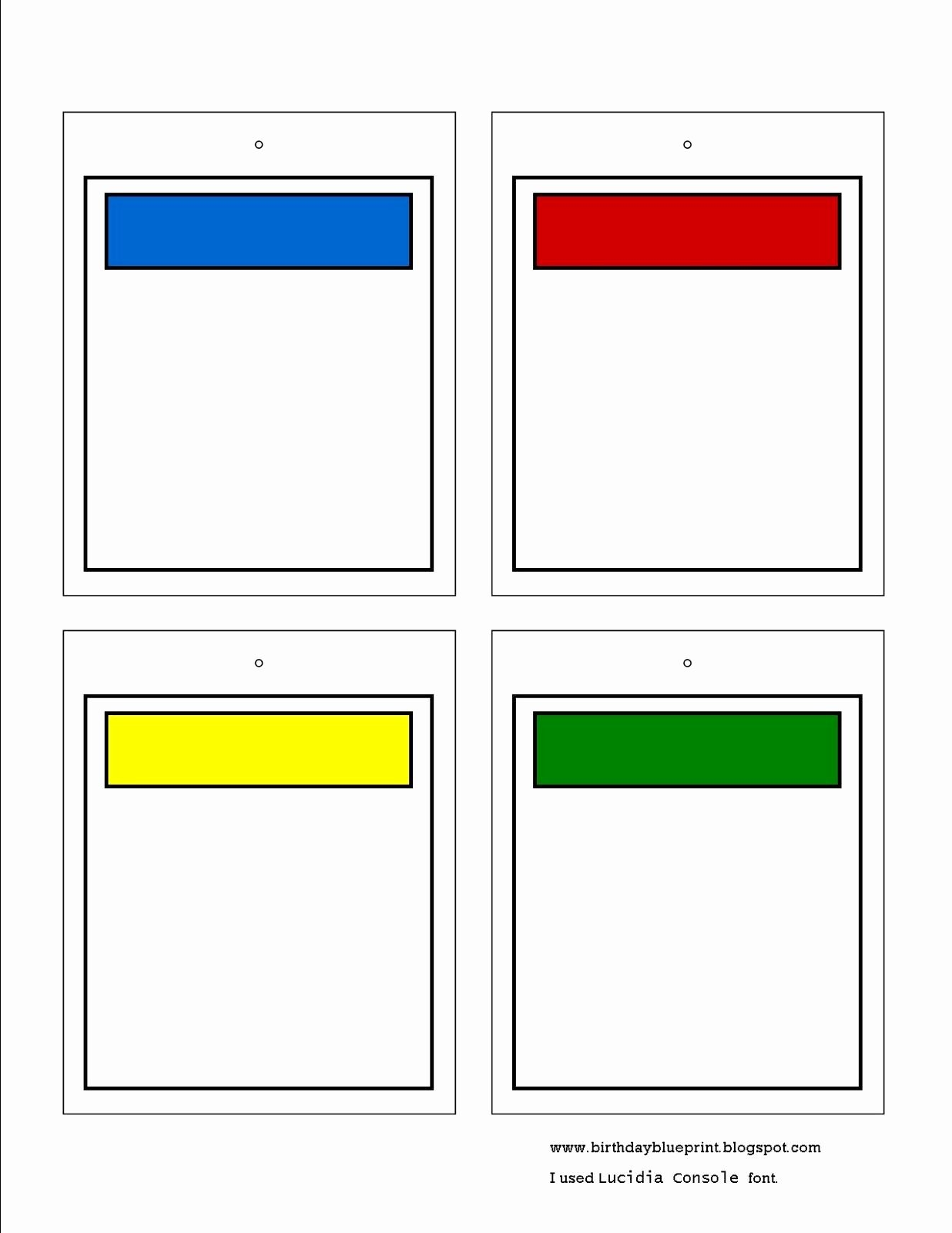 Monopoly Board Template New Birthday Blueprint Board Game Party Printable Tags