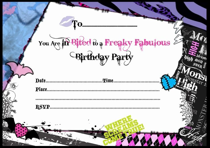 Monster High Invitations Templates Awesome Free Printable Monster High Birthday Invitations Layout